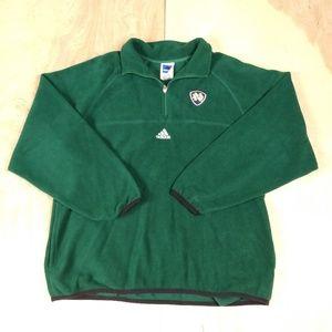 Adidas Green Fleece 1/4 Zip Fleece Notre Dame Sz L